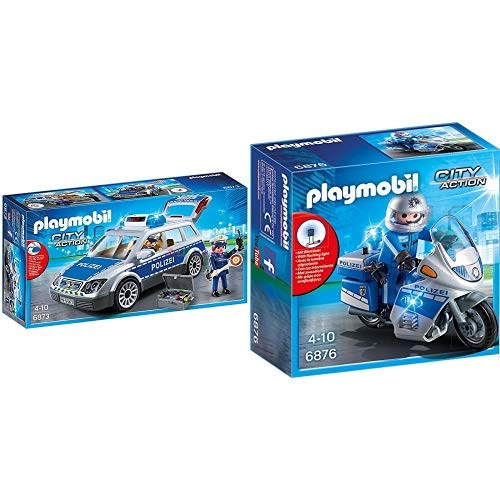 Playmobil 6873 - Polizei-Einsatzwagen & 6876 - Motorradstreife mit LED-Blinklicht