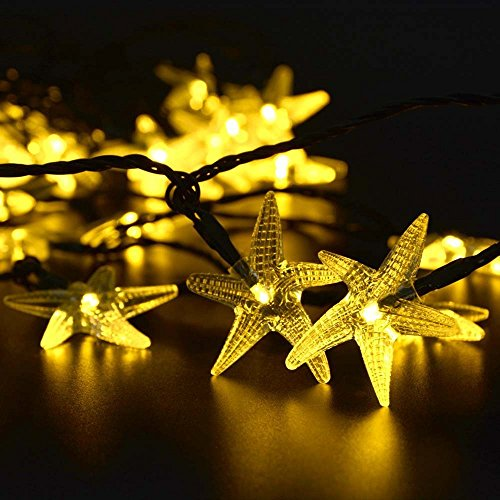 Outdoor String Lights 40FT Patio Lights Solar Star Fish 60 LED Fairy Lights Waterproof String Light for Garden Gazebo Yard Party Decoration 2 Pack(Warm White)