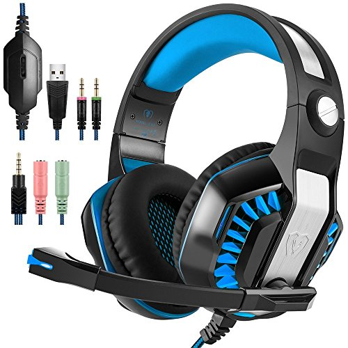 PS4 Gaming Headset fur PC PS5 Xbox OneOver Ear Headphone mit LED Lichter Playstation 4 Gamer Kopfhorer mit Rauschunterdruckung Mikrofon fur Nintendo Switch Laptop