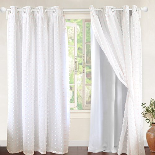 DriftAway Lily White Pinch Pleated Voile Sheer Blackout Curtain Liner Embroidered with Pom Pom One Panel Two Layers Grommet Curtain for Kids Nursery Room 52 Inch by 84 Inch Blackout Soft Pink