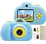 YunLone Macchina Fotografica Bambini 18MP Selfie Fotocamera Digitale 1080P HD Digitale Videocamera Bambini con Scheda SD 32GB Regali per Ragazze Ragazzi - Blu