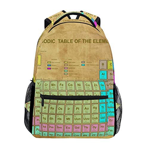 JOYPRINT Backpack Periodic Table of The Elements Chemistry Shoulder Bag Daypack Travel Hiking for Boys Girls Men Women