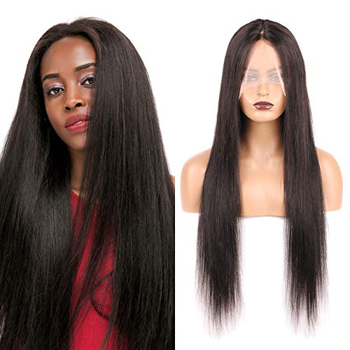 "Huarisi 26"" Middle Part Long Wig Lace Front Straight Hair Wig T Part Brazilian Human Hair Wig No Bang 150% Density Machine Made Wig Pelucas Mujer Natural for Women Daily Wear"