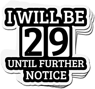 shopdoz 3 PCs Stickers 29th Birthday Funny I Will Be 29 Until Further Notice 3×4 Inch Die-Cut Wall Decals for Laptop Window