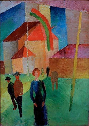 Art-Galerie Digitaldruck/Poster August Macke - Beflaggte Kirche - 50 x 70.5cm - Premiumqualität - Made in Germany
