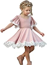 Kids Baby Girls Dress Lace Edge Floral Party Dress Short Flare Sleeve Pink Dress Clothes