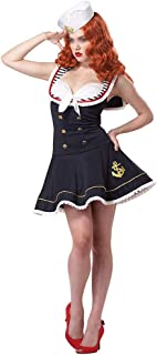 New Halloween Sailor Navy Dress Uniforms Sexy Nautical Costume (Color : Blue, Size : L)