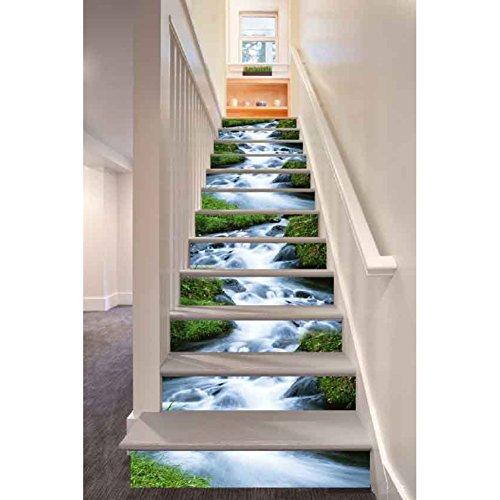 Abziehbilder für Treppen, Wingbind 3D Starfish Creek Stein Wasserfall Kreative Treppe Aufkleber PVC Abnehmbare Romantische Bodenaufkleber Wasserdichte Wandaufkleber 6 Teile / satz