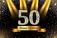HD 7x5ftビニール写真の背景ハッピー50歳の誕生日ゴールデンダイヤモンドの言葉スパンコールステージライト黒の背景50歳の誕生日パーティーの装飾写真スタジオプロップ