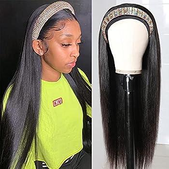 Utrue hair Headband Wig 18 INCH Human Hair Straight hair Headband Wig Glueless None Lace Front Human Hair Wigs Straight Machine Made Wigs 130% Density