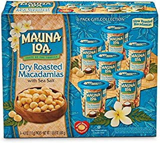 Mauna Loa Dry Roasted Macadamia Nuts 4.5oz Tin Can (Pack of 6)
