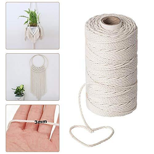 Cuerda de macramé de 200 m x 3 mm, cuerda de algodón