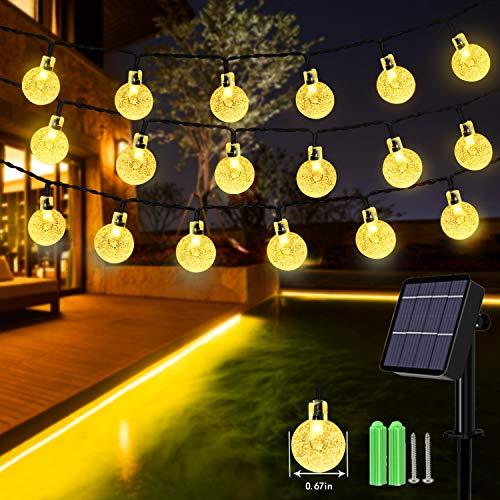 Solar String Lights, 59Ft 100 LED Globe String Lights, Solar Fairy Garden Lights Waterproof 8 Modes Indoor Outdoor Balcony Lights for Christmas, Bedroom, Patio, Gazebo and Wedding Decor (Warm White)