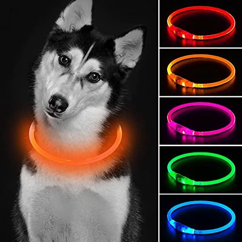 Collar de perro naranja con luz de trabajo de seguridad personalizada con USB recargable Super brillante perro collar intermitente 4 colores para perros grandes