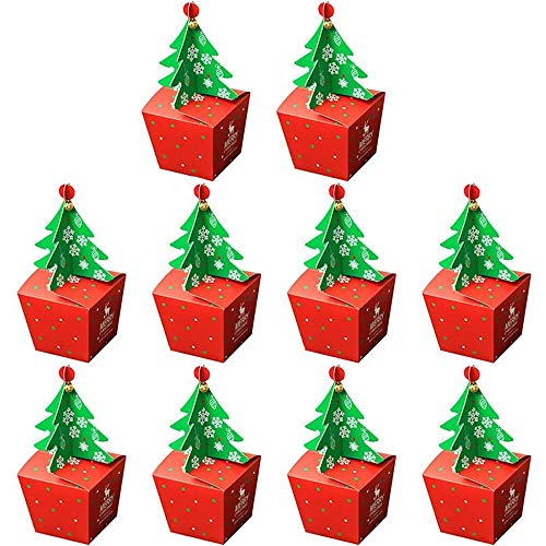 IWILCS Partytüten, Bonbons tüten Geschenktüten, Partytüten Papier, Kindergeburtstag Papiertüten, für die Geburtstagsfeier Hochzeit Geschenk Papiertasche, Deko Taschen, Weihnachten(10pcs)