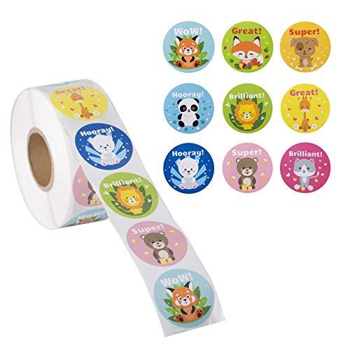 1000 Stickers for Kids in A Roll - Teacher Reward Stickers 1.5 Inch - Cute Animal Stickers - School Reward Stickers - Motivation Stickers for Students - Teacher Sticker- 9 Designs 1000 Stickers