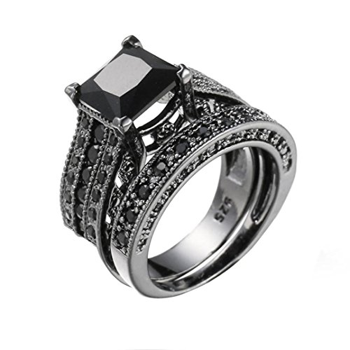 OldSch001 Womens Vintage Black Diamond 2-in-1 Engagement Wedding Ring Silver Rings (Black, 6)
