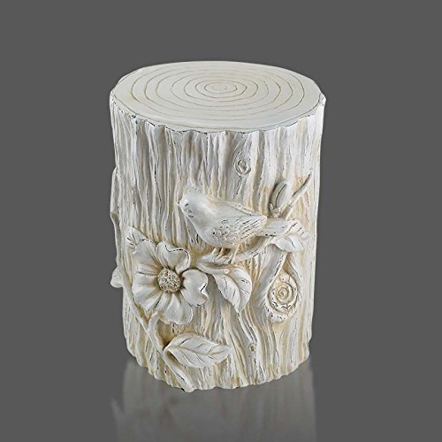 Vast Kreative Baumstumpf Hocker, runde Geschnitzte Blume und Brid Art Hocker, Dekoration Resin Bench for Balkon, 32cm * 47cm 403 (Color : Antique White)