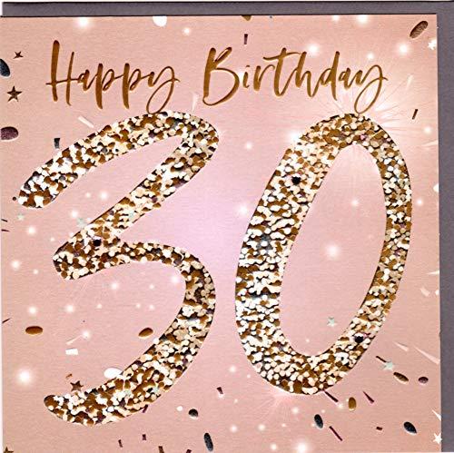 Belly Button Designs hochwertige Glückwunschkarte zum runden 30. Geburtstag (goldlachs)
