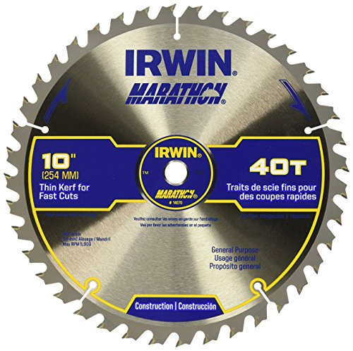 IRWIN Tools MARATHON Carbide Table / Miter Circular Saw Blade, 10-Inch, 40T