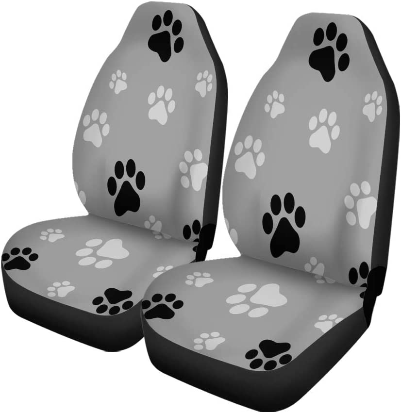 35% OFF Semtomn Set of 2 Car Seat sale Pawprint Dog Covers Paw Black Colorful