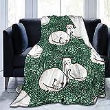 SPXUBZ Manta de jardín con diseño de gatos en una suculenta, de microfibra, ligera, suave y acogedora para todas las estaciones en el hogar, cama, sofás, sillas de dormitorio para adultos