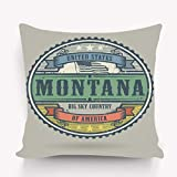 hyjhytj Kissenbezüge Pillow case Vintage Stamp Label Text United States America Montana Vintage Stamp Text United 18 * 18 inch