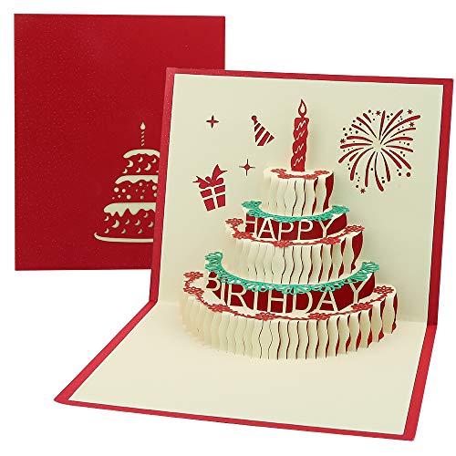Vegena Geburtstagskarte 3D, Pop Up Karte Geburtstagskarten Geschenkkarte Grußkarte Birthday Card für Frauen Mütter Ehefrau Freundin Liebhabers inkl. Umschlag