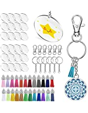Keyzone 96 Pieces Acrylic Transparent Circle Discs, 2 Inch Diameter Round Clear Acrylic Keychain Blanks and Tassel Pendant Keyring Set for DIY Projects and Crafts (96)
