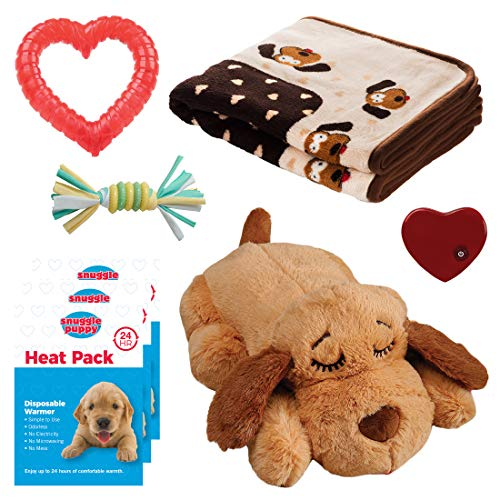 SmartPetLove Snuggle Puppy Heartbeat Stuffed Toy - Pet Anxiety Relief and Calming Aid - Biscuit - New Puppy Starter Kit (Neutral)