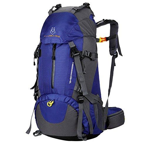 Litthing Mochila de Montaña para Hombre y Mujer 60 litros Gran Capacidad Deportiva Duradera Impermeable Multifuncional Antifricción para Excurción Acampada Aire Libre Unisexo(Azul)