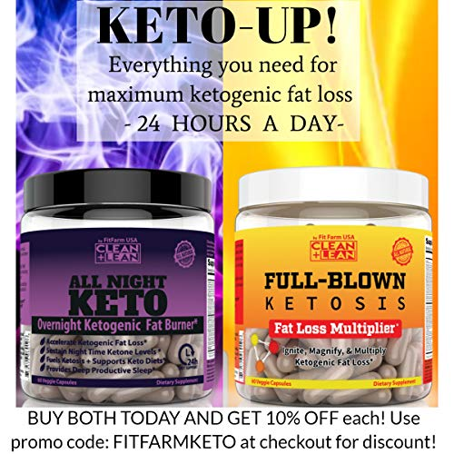 CLEAN+LEAN ALL NIGHT KETO: First Ever Overnight Ketogenic Fat Burner & Sleep Aid | BHB Ketones + MCT Oil + Vitamins & Immunity Complex | 24 HR Diet Sleep Great Lose Weight | All Natural & GF | 60 Caps 3
