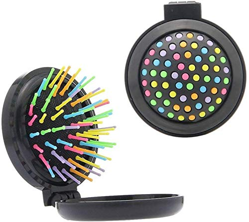 Ensemble de voyage avec brosse à cheveux pliable et miroir arc-en-ciel - Mini compact et compact - Noir