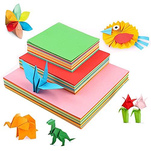 Zuzer Origami Papel,300 Hojas Papel para Origami Colores,Papel de Origami Doble Cara Papel de Colores de Manualidades,10x10cm/15x15cm/20x20cm