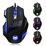 Zelotes Ratón Gaming, 7200DPI Mouse Gaming, 7 Botones para Gamer,PC,Mac,Laptop,Macbook,Negro