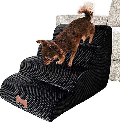 KKY-Enter Hund Rampe Haustier Treppen - Hundestufen für Bett & Sofa, Hochdichte Schwamm Haustierleiter Rampe Treppen, rutschfeste Flanellabdeckung für kleine Haustiere, Nicht leicht verformt