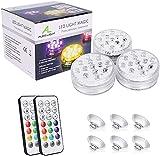 Luz LED subacuática, ALED LIGHT Actualización de 3 paquetes de 13 LED RGB Luces LED impermeables multicolores Iluminación de estanques con ventosas