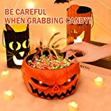 Rocinha Animated Halloween Candy Bowl Large Pumpkin Candy Dish with Creepy Hand, Red Eye & Monster Sound, Motion Activated Halloween Bowls for Candy for Tease Trick-or-treaters Halloween Decor Indoor