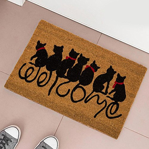 Felpudo Original Welcome Cats Diseño de Gatos de Fibra de Coco