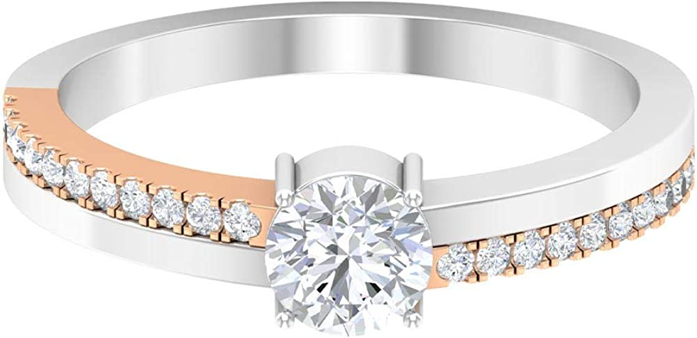 Mix Metal Colorado Springs Mall Nippon regular agency Women solitaire 3 4 Ring Weddin Side Stone Diamond CT