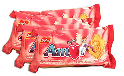 PACK de 4 paquetes de Galletitas AMOR de BAGLEY. Galletitas Dulces rellenas sabor a almendras.