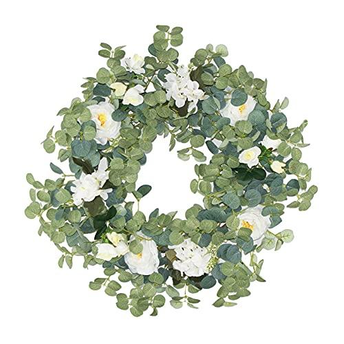 T TOOYFUL Foglie Verdi Fiore Corona di Eucalipto Artificiale con la Simulazione della Rosa Garland per la Parte Anteriore Appeso a Parete Porta Festa di Nozze