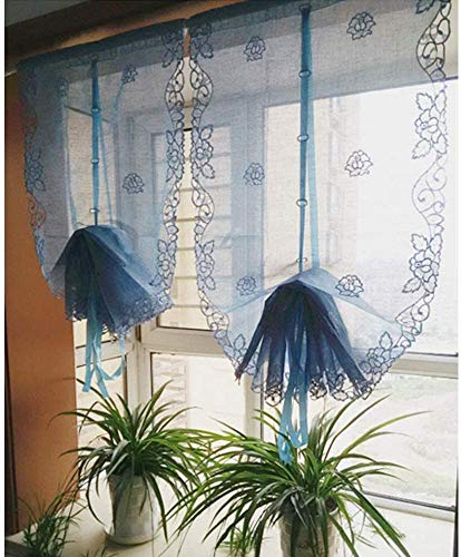 25x57inch Tie Up Roman Shades Rose Balloon Curtain Slub Yarn Elegant Embroidered Sheer Handmade Hollow for Kitchen Windows(25x57 inch, White)