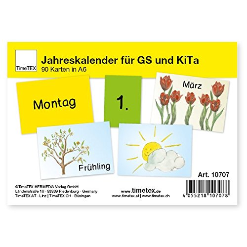 TimeTEX Jahreskalender für Grundschule und Kita - 90 Karten A6 zum individuellen Zusammenlegen - 10707