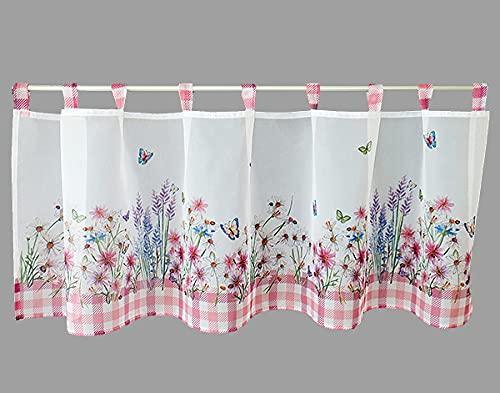 Scheibengardine Bistrogardine Küchengardine 45 x 120 cm Voile Organza Stoff transparent Bedruckt mit Blumen und Schmetterlingen in rosa