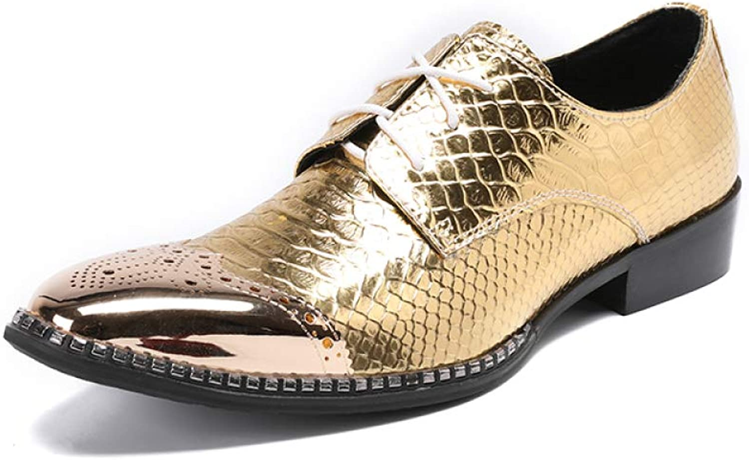 Men Pointed Derby shoes Novelty Stage shoes golden Casual Fashion Personality Party shoes Brogue Low-Heeled Wedding shoes