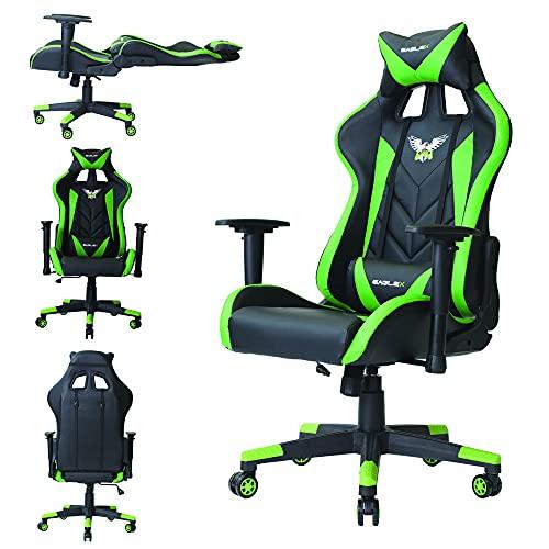 Cadeira Gamer Gaming De Escritório EagleX Profissional Sistema Relax Giratória Com Braço 3D - Verde