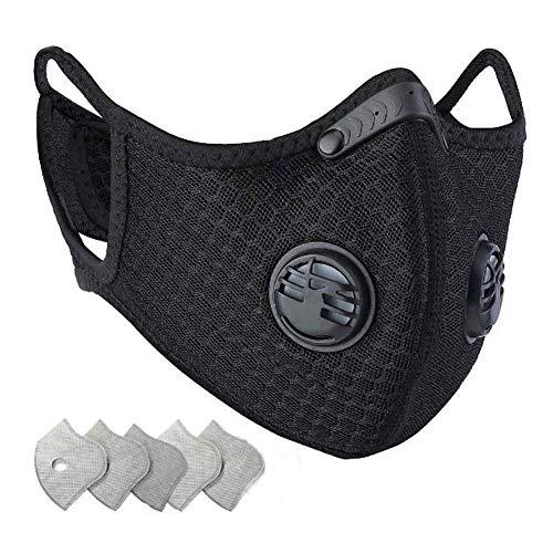 Staubdichte Sportmaske – Aktivkohle Anti-Umweltverschmutzung Maske mit extra Filter Baumwolltuch und Ventilen im Set, Workout, Laufen, Motorrad, Radfahren, Maske
