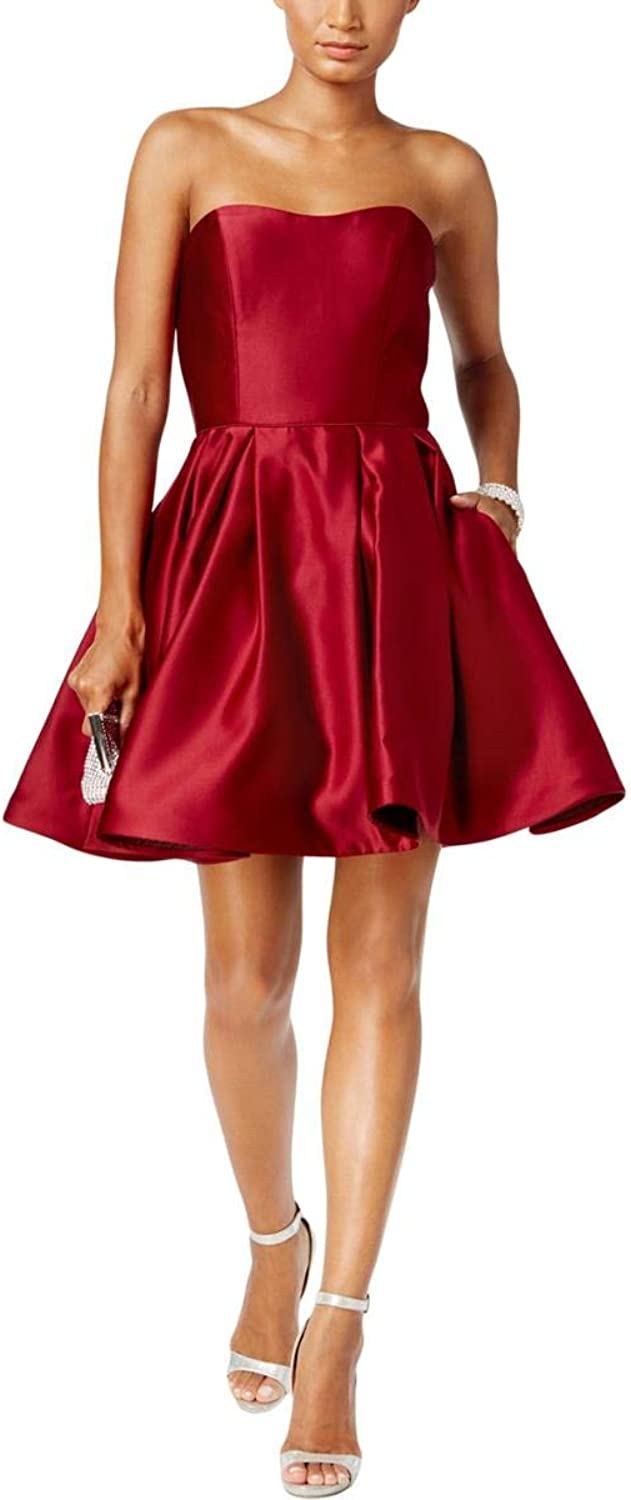 Betsy & Adam Womens Strapless Mini Cocktail Dress