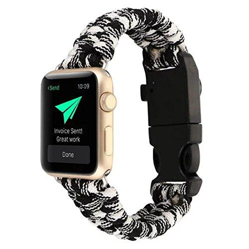 AIYIBEN 42MM Apple iwatch Watch cinturino, Nuovo Nylon ombrello corda sopravvivenza Bracelet Watch band . (Camouflage black)